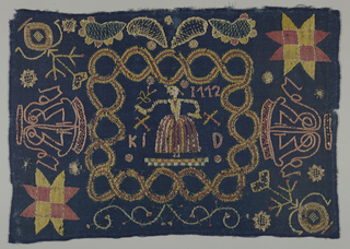 Dark blue twill ground embroidered with polychrome wools in coarse outline and filling-stitches. A central square is framed by an interlacing pattern, inside it a woman in a full skirt holding flower, the date 1772, and the initials K.I.D. In alternate corners an 8-pointed star or a stylized vase and flower appear. A large cipher appears on each short end; a floral scroll at the lower edge and diapered,  tear-shaped leaves at the upper edge.