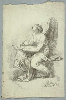 A woman sitting, seen from the left, her head raised upwards.