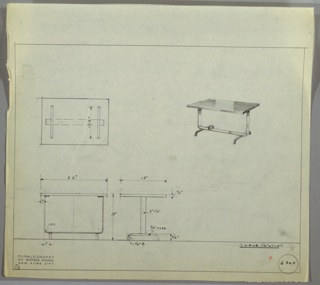 Perspective, plan, and elevation drawing for rectangular table. Surface of table reflective, either polished wood or Bakelite; two polished chrome strap legs and stretcher, supported by tubular metal legs.