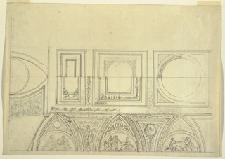 Row of big coffers of various design, supported by pointed arches separated by spandrels. Representations in lunettes, at bottom of arches, reference to Athena as protector of arts. Candelabrum motifs in spandrels.