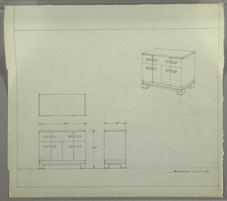 Design for sideboard. At upper right, perspective shows rectangular case piece with drawer or drawers at top, and cabinet below resting on a platform on top of four square-plan feet. Stepped front. Below, at left, plan, front elevation, and side elevation with dimensions.