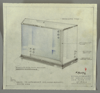 """Design for bar. At center, perspective drawing of bar with mirrors and metal and Bakelite accents. Overall rectangular plan with trapezoidal left side. Bar top in Bakelite rests on several bands of Bakelite and/or polished chrome trim. Front surface is rectangular, in blue, with bands of polished cut lines extending along right front edge and almost across lower edge (running right to left). At upper right, three vertical circles (""""polished puinties"""") on inside of cut lines, while two stacked pairs of punties found above end of lines across bottom. Base in Bakelite with several bands of trim. Inscribed with Deskey No. 8092; inscribed date 11/15/34."""
