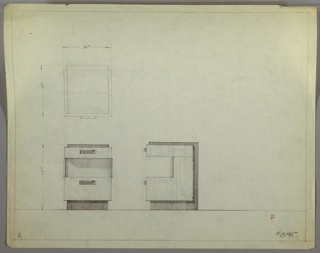 Plan and elevation drawing for end table. Rectangular top of table in dark material (Bakelite or lacquer ?), forming the back and base of the table; body of end table probably wood. Drawer at top of table, open shelf below, and larger drawer at bottom of table. Rectangular drawer pulls with rounded ends.