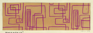 On orange ground, partial view of pattern design with overlapping meandering pink linear forms that create various squares and rectangles.