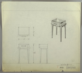 Perspective, plan, and elevation drawing for small end table. Top of table in Bakelite (?) or another reflective material; drawer below in wood, with protruding surface of drawer and rectangular pull. Drawer on a frame of a different material, with rounded sides and straight legs.