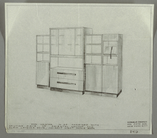 Perspective drawing of wall unit/book shelves. Raised central section with three shelves covered by glass, open shelf below, and two drawers at bottom. Side units each have three open shelves near top. Narrow unit at far right with two open shelves near top; open book displayed on top shelf. Wall unit on base of darker wood.