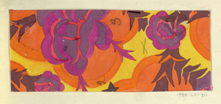 Yellow ground with floral pattern in magenta, orange, and gray blooms and gray spiky leaves.