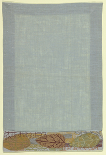 Pale blue linen with applique border at end of grey linen, in leaf pattern, embroidered by machine in multicolor.