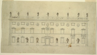 Elevation of three-story building, eight windows in ground and top floors, six windows and two doors in second story. Ground floor: six statues upon pedestals between windows. Lower two floors: decorations of tops of window cases. Second floor: trophy with lyre, railings before door. Top floor: busts in niches between windows of top floor.