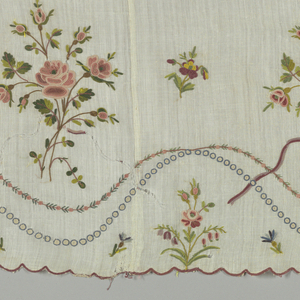 White cotton muslin flounce embroidered in silks with chain stitch. Repeat of large group of roses alternating with tiny pansy or violet. Bottom scalloped with maroon.