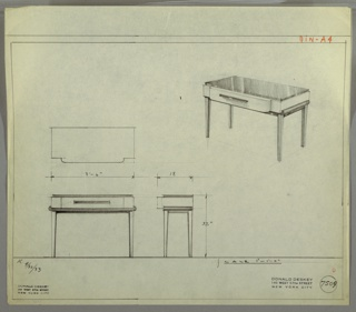 "Design for side table with drawer. At upper right, perspective shows case piece with dark top surface, lower tray-like scrolling element, and drawer pull—possibly Bakelite or lacquer. Rectangular volume with scalloped front drawer with horizontal pull supported by four square-plan, tapered legs. At lower left, a plan, front elevation, and side elevation with dimensions. Inscribed with ""K. 9/30/33"", ""L. 10/17/33"" and Deskey No. 7509."