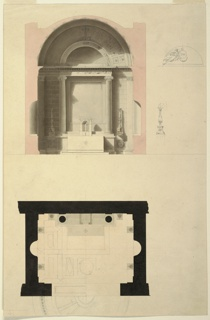 Architectural details. Top: section of apse; entablature of altar.