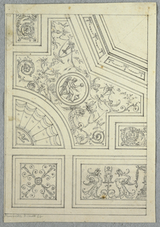 Ceiling divided into panels with moulded frames and painted decoration. A portion of the octagonal center panel is shown, bordered with swags and bowknots. Below this, an X-shaped panel with grotesques and a medallion at the center showing a winged figure. On either side of this are rinceaux panels. At lower right, a grotesque.