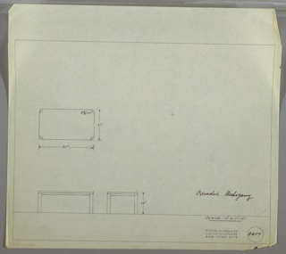 Plan and elevation drawing for a bleached mahogany rectangular end table; four legs with rounded outer edges.