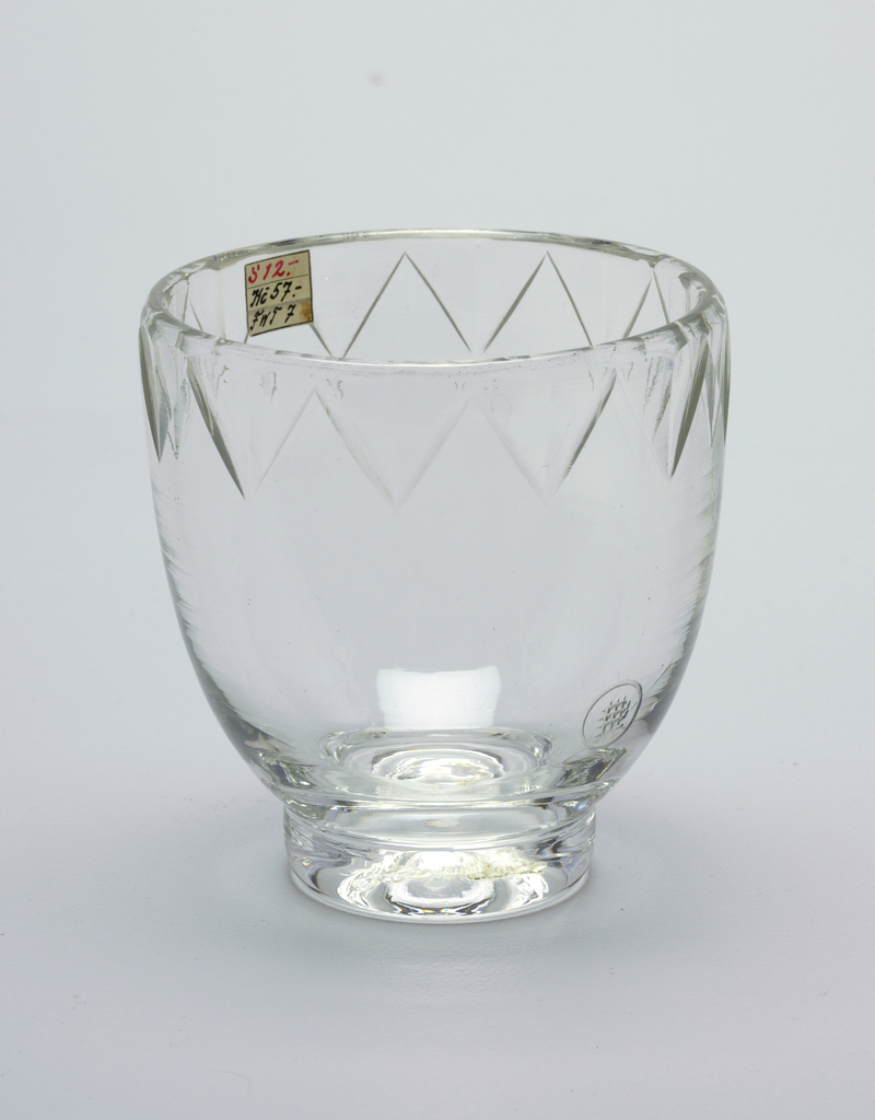 Mouth-blown crystal, with cut and polished rim ornaments