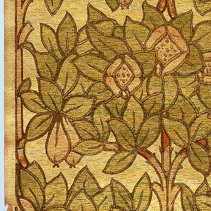Blocks of foliage grow off a central trunk.  The foliage is arranged in ashlar block fashion.  The background is printed with an irridescent pigment, inspired by the Tiffany favrile glass.
