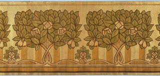 Blocks of foliage with flowers growing out from woody trunk. The bottom half of the frieze is striped. The background is printed with irridescent pigments inspired by Tiffany favrile glass.