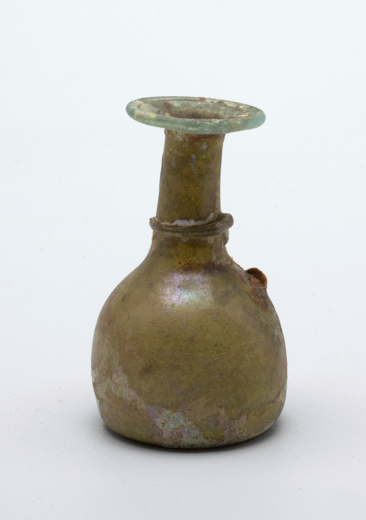 Flared rim at top bottle green with added glass rim at base of the neck; Broken handle. olive green glass