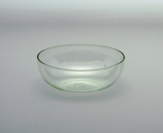 Clear round glass bowl.