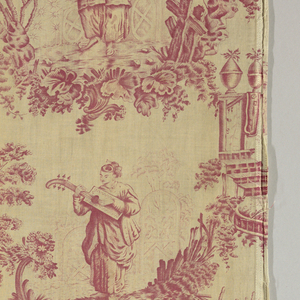 """Chinoiserie"". Four designs framed by plant forms in raspberry on an off-white percale. One vignette is signed F. Perrar Sc."