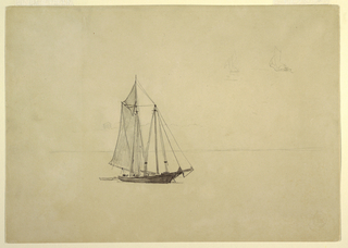 Horizontal view of a schooner and its dinghy with a wooded hill in the background; two small sketches of yawls (boats) in upper right corner.