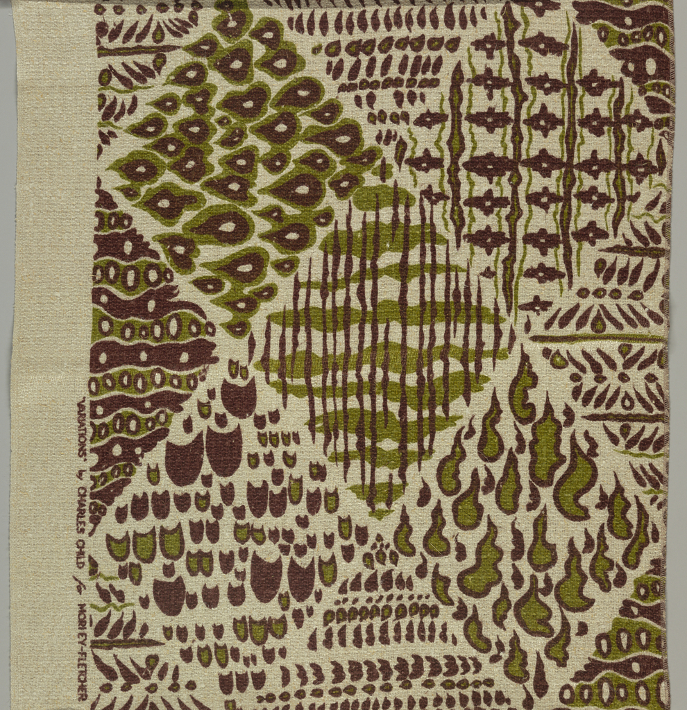 Large-scale diamond shaped areas of contrasting groups of wavy lines and stripes with amoeba-like shapes. Printed in brown and green on a coarsely woven undyed beige ground. One plain weave selvage.