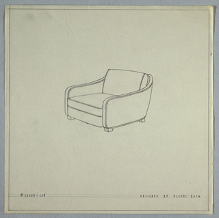 Armchair with curved arms and small feet.