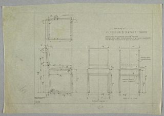 Plan and elevation of aluminum and leather chair.