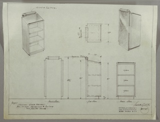 Drawing, Lectern-Cabinet: Exterior Door with Light at Top, Interior Shelves, 1930s