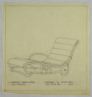 Chaise longue with horizontal cushions with rounded sled-like arms, with wheels.