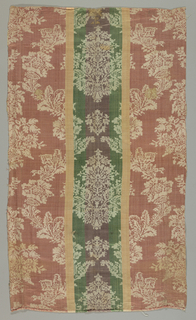 Damask with a vertically symmetrical pattern of two offset floral forms enclosed with a flowering branch forming a grid. Off-white pattern on a satin striped background of rose, pink, green and violet.