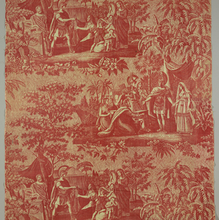 Two different stories, that of Coriolanus and that of Scipio, printed in red on a background of chickens. There is text in French under each of the scenes.