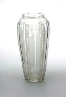 Clear glass vase, cut glass with chevron pattern decoration