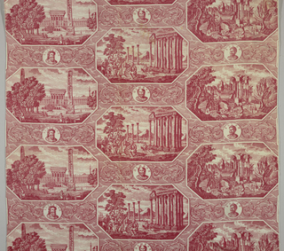 Length of printed fabric with pattern in red: offset arrangement of three scenes within horizontal rectangular octagons. Each scene a landscape with classical antique ruins. A small medallion above each octagon-one containing the bust of Licurges, one homer, and the third Solon.