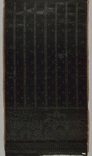 """Skirt panel in all black with a pattern in cut and uncut pile. Narrow decorated vertical stripes on ground scattered with tiny sprigs. Deep hem decoration of symmetrical scenes of fishing figures on either side of a stream swirling under a double-arched bridge alternating with dueling figures in front of allée of obelisks. Portico topped by coronet and with unidentified initials """"LL"""" in background. Wide pink and yellow striped satin selvages."""