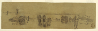 Horizontal view of a beach with four fishing boats drawn up, and groups of women with baskets looking across the water toward two fishing boats with sails.