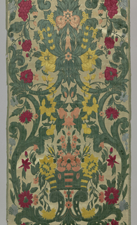 """Panel of two widths of material having six selvedges present. White satin ground with multicolored cut and uncut """"jardinier"""" velvet design of flower baskets, large-scale curving branches with leaves, blossoms and bunches of grapes."""