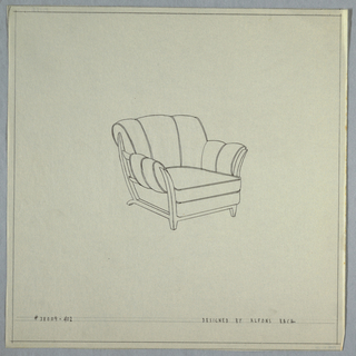 Armchair with three tufts on back; two tufts on each arm.