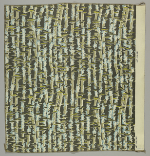 Impressionistic design of lichen in soft blue, yellow-green, dark gray-brown, and black on undyed cotton ground.