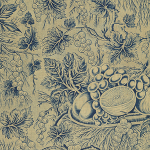 Length of very thin, lightweight cotton printed in blue with a design of a platter of fruit amid foliage and grape vines. Printed area covers selvage on right side.