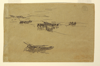 Series of quick horizontal sketches of sailors with boats on carriages.