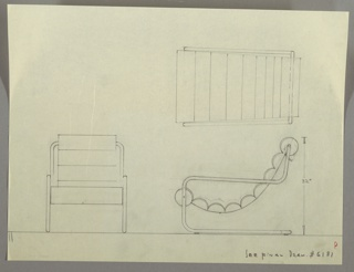 Drawing, Armchair: Upholstered, Cantilevered, 1930s