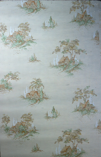 Small landscape vignettes. The larger ones contain cottages and alternate with smaller scenes containing trees. Printed in colors on a tan ground.