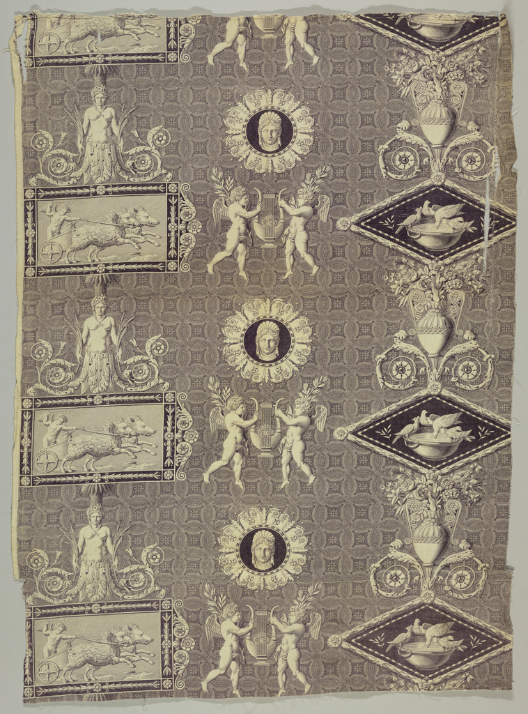 Framed scenes, one a horizontal rectangle showing a putti in a chariot driven by a team of boars, the other a diamond showing doves feeding from abowl with vases, putti, masks, and herms, all on a background of intersecting circles. In deep purple red.