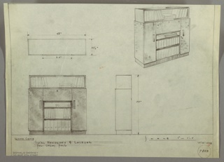 Plan and elevation of cabinet and bookshelf unit.
