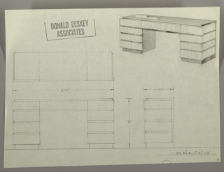 Drawing, Desk: Centered Seating, Four Stacked Drawers Each Side, 1930s