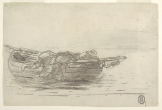 Horizontal view of figures of fishermen climbing over the gunwales of a dory boat  that has just been launched.