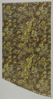 Valance-shaped piece of glazed chintz with an all-over design of natural-size roses and cornflowers, in bright blue and acid yellow on a dark brown ground.