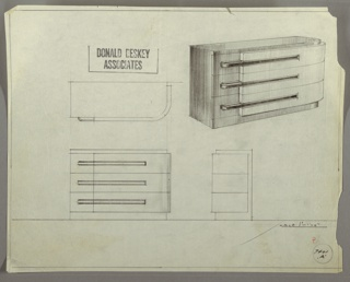 Design for chest of drawers for Helena Rubinstein's apartment in New York, NY. At upper right, object shown in perspective: overall rectilinear format with curved front-right corner. Base and top in darker material and slightly recessed; same material used for left side and left side of drawer fronts; right side in lighter material that angles outward and extends to the right and curves backward. Horizontal pulls straddle both layers of drawer fronts. Also shown in plan and front and side elevations. Inscribed with Deskey No. 7401 A.