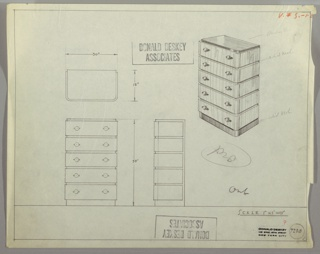 Drawing, Chest: Five Drawers, Round Knobs-Left and Right, 1930–35